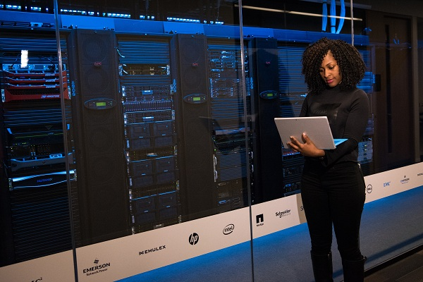lady in data center
