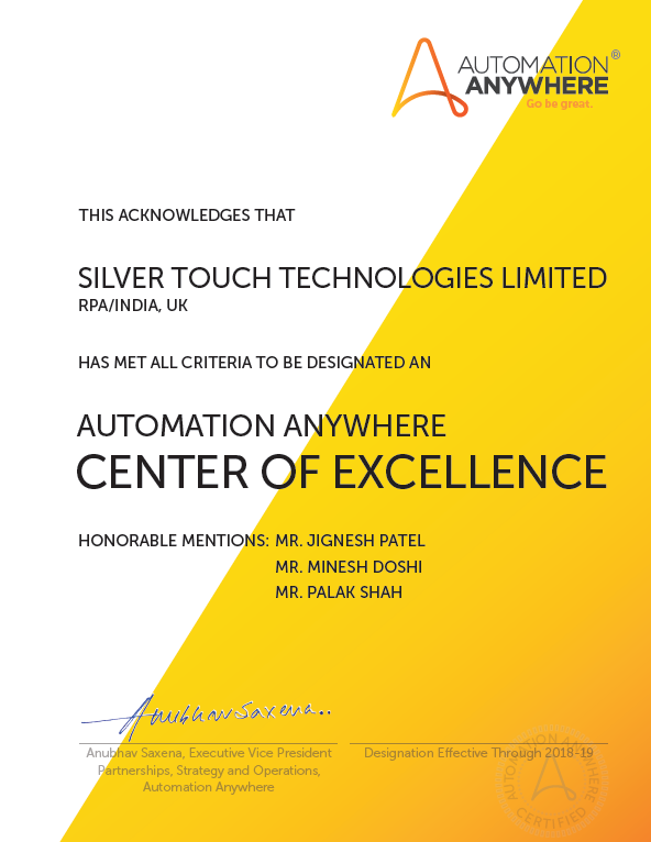 Automation Anywhere Center of Excellence Certification for RPA Services